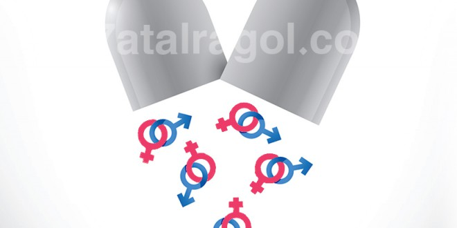 صورة لكبسولة دواء مفتوحة يسقط منها علامات الذكر و الانثى